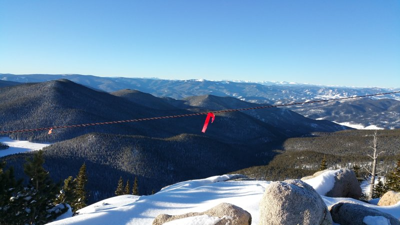 2 Humps as seen from the top of Monarch Mountain Ski Area - ski lines are on the shaded slope seen above the rope.