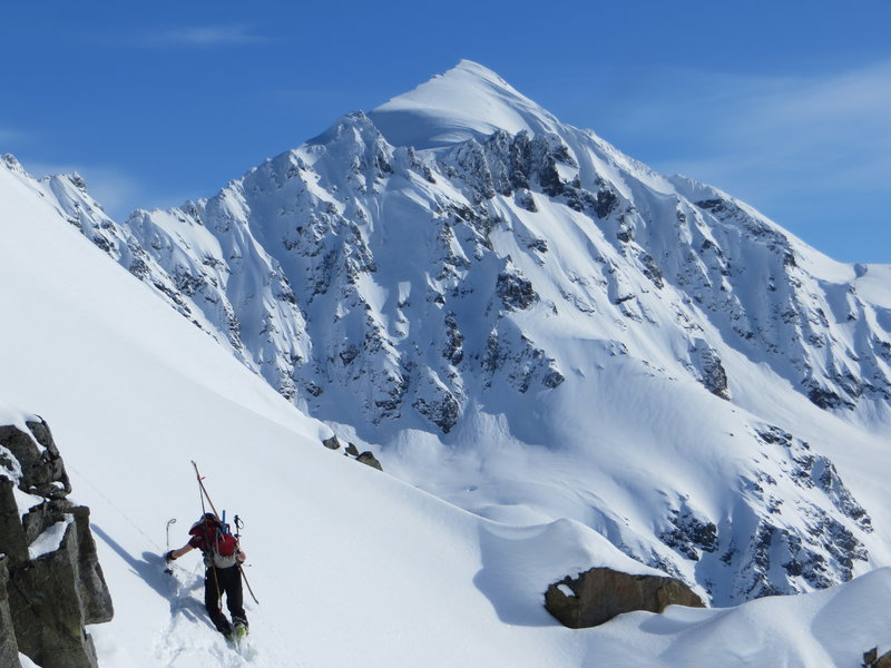 "Traversing the ridge to access the northernmost finger of ""The Hand of God""."