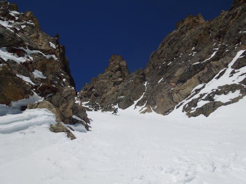Skiing down the bottom part of Dead Elk.