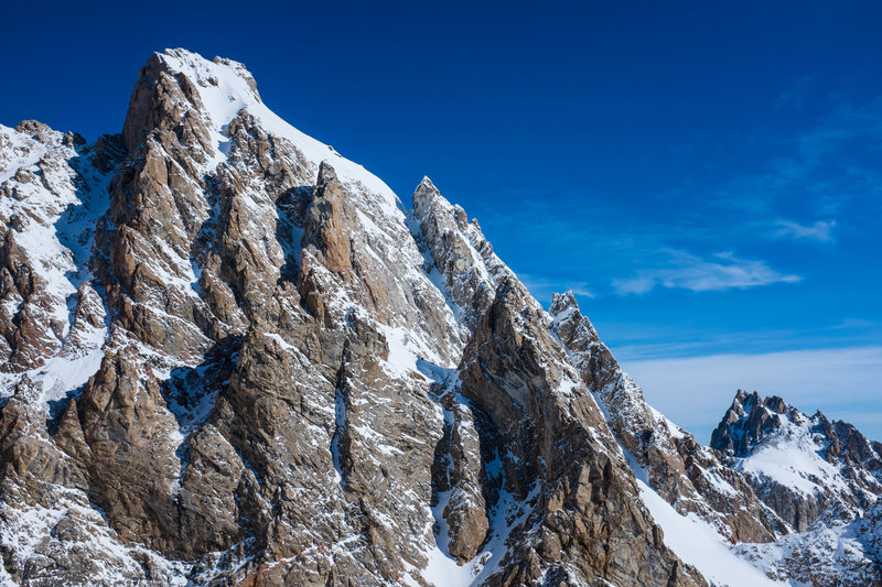 View of the Grand Teton and the Ford-Stettner route from near the top of the Middle Teton.
