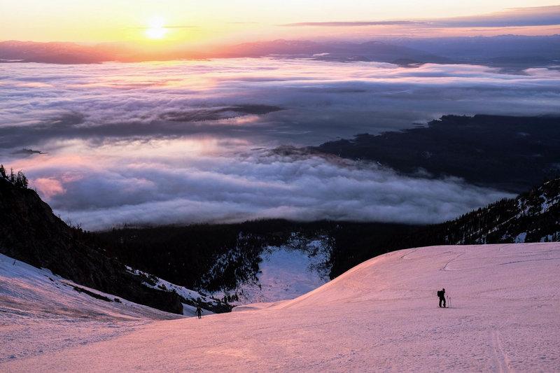 Skinning up the Skillet Glacier at sunrise.