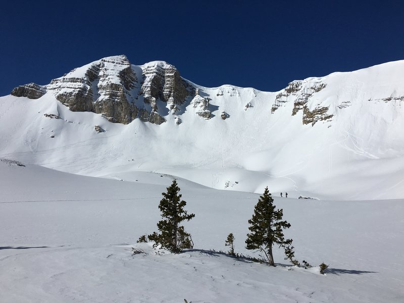 View of Cody Peak with numerous Jackson Hole sidecountry lines.