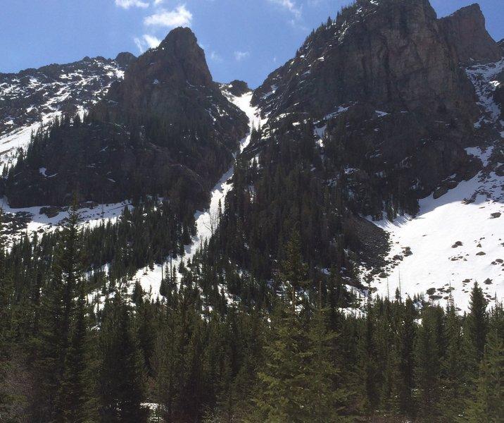 North couloir Quintuple Peak.