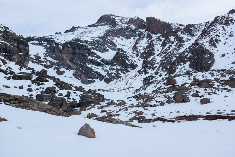 The route on the south face of Longs is marked, starting with the Home Stretch & then traversing over to Keplingers Couloir.
