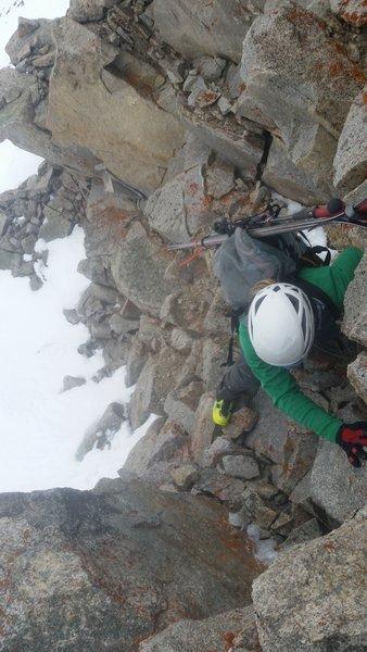 Climbing the approach.
