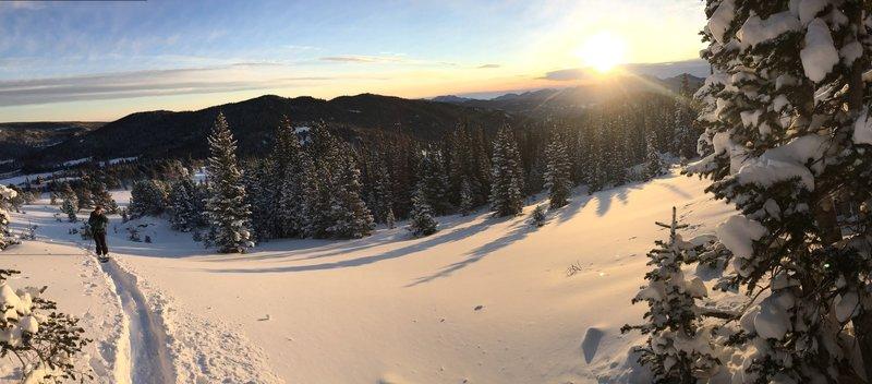 Sunrise ski at Caribou Hill.