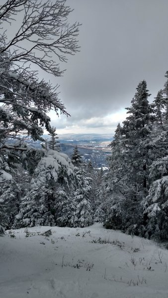 """The view from the """"13 Turns"""" section of Tucker Brook Trail can be quite beautiful if the weather is clear."""