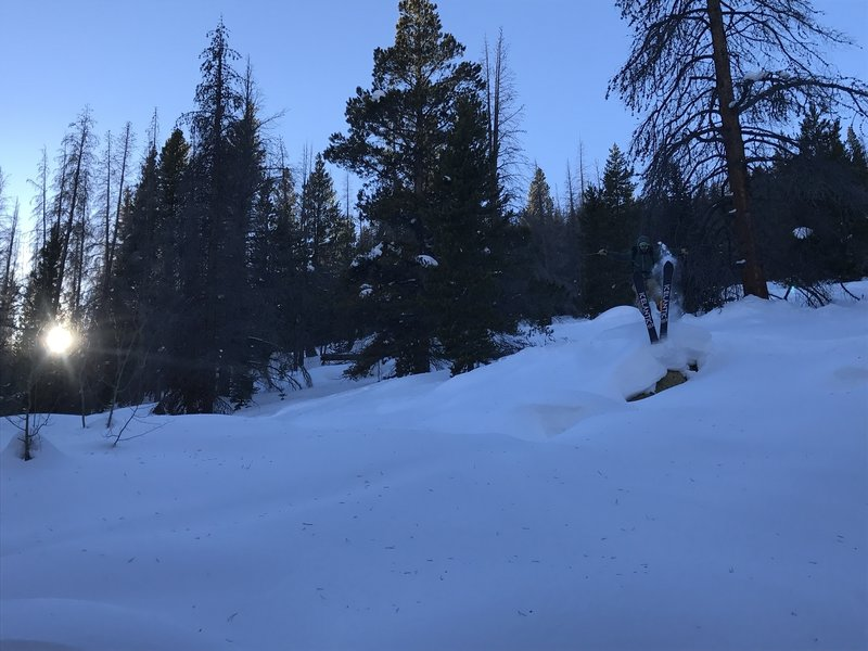 Getting sendy on some puffy, low-angle pillows below Red Mountain.