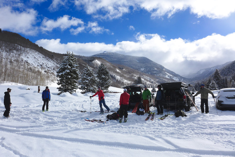 Our group gears up at the trailhead for a fun weekend at the Polar Star Hut.