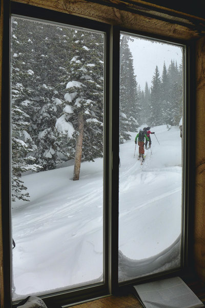 Some of our group heads off for a day of shredding pow pow in the meow meow!