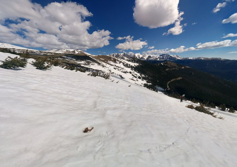 Expect beautiful views like this looking north from just southwest of the bowl.
