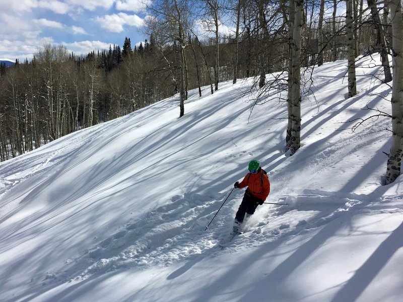 Shallow pow still makes for nice turns on Meadow Mountain.
