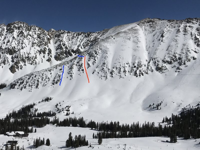 View of North Y Chute (red) and the 7th Tree Chute Staircase (blue) from the top of the Pali lift.