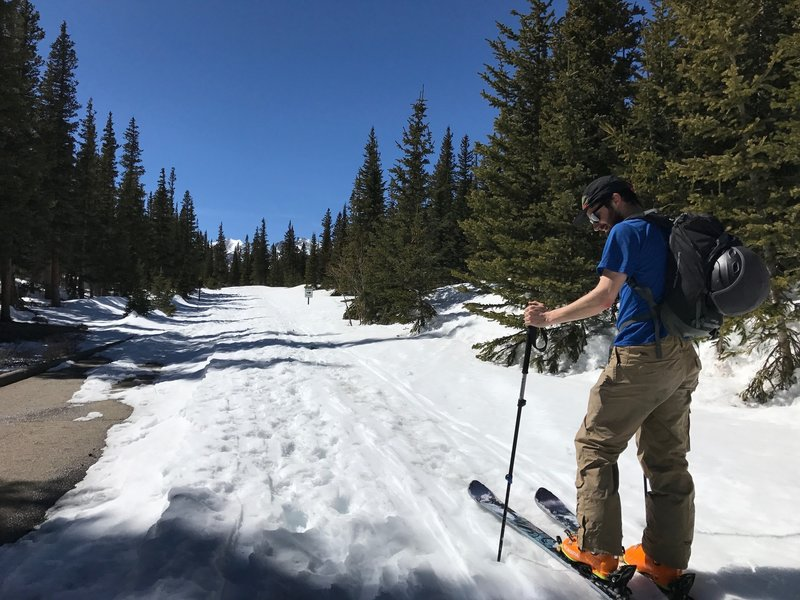 We head out on Brainard Lake Road on a bluebird March day.