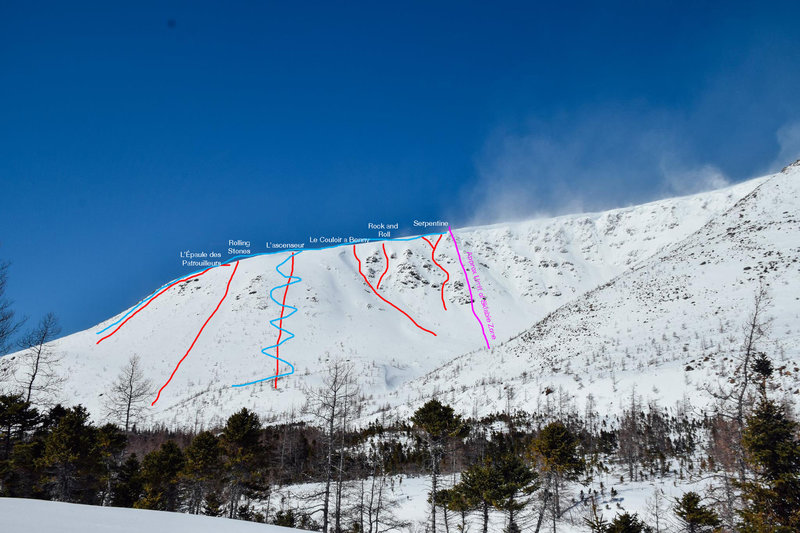 This is a view of the Patroller's Wall from the Serpentine Hut. Lines are marked in red, uphill routes marked in blue, and the limit of the zone open to skiing is marked in purple.