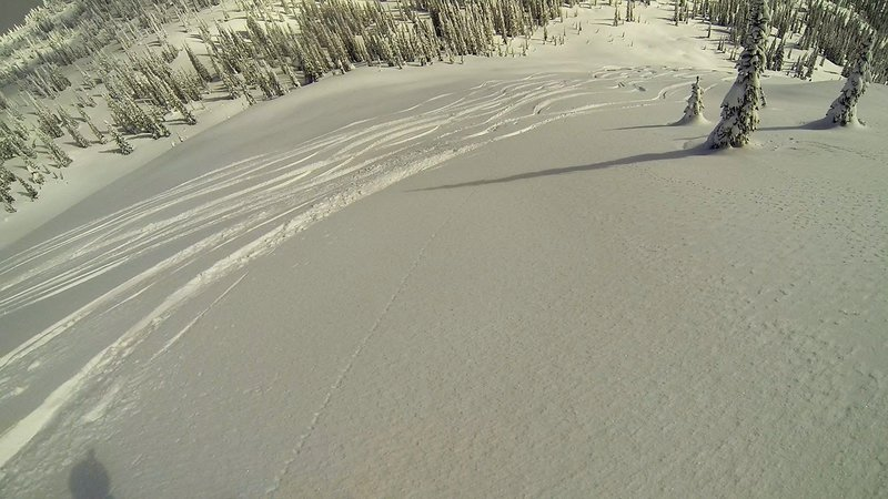 Deep powder awaits as we carve up the main pitch of Northeast Hoover.