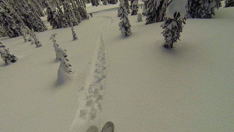 It's still plenty deep as I approach the cat track near the bottom of Sunny Delight!