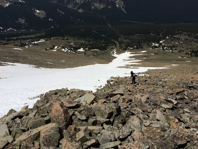 This is looking down the 740 Snowfield.