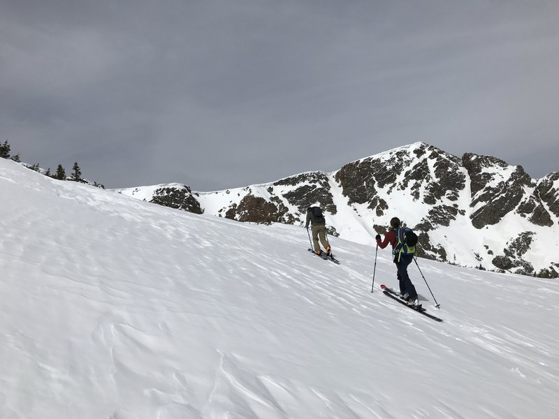 Making the final push to the back bowl above Upper Crater Lake.