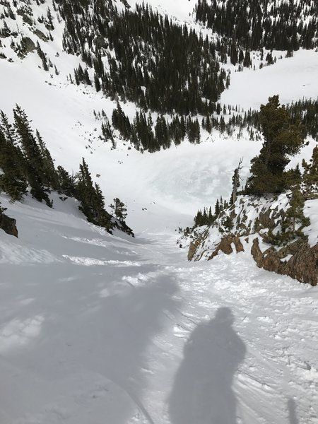 A relatively narrow couloir that showed us what a slough-slide looks like. The view to the bottom is unobstructed, which is only slightly more comforting.