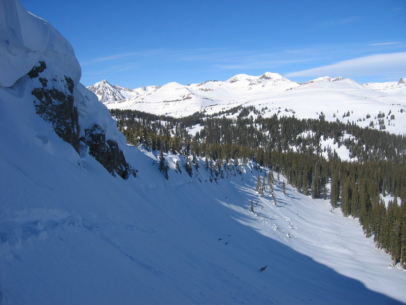 Looking west from the top of the skin track.