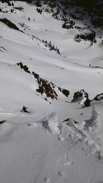 A skier drops into Frankenstein on some excellent spring powder.
