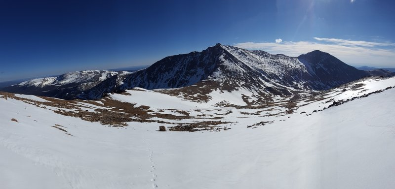 Hagues Peak and The Saddle pose for a photo from halfway up Mt. Fairchild's North East Slope.