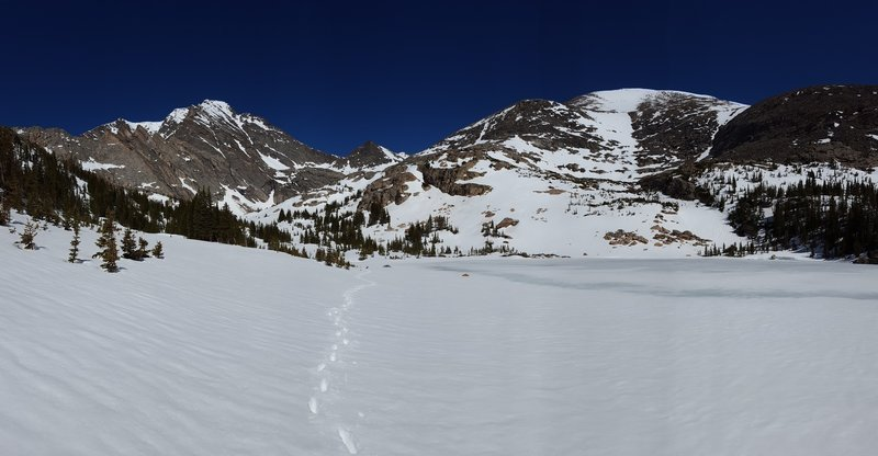 Ypsilon Mountain and Fairchild Mountain are beautiful from Middle Fay Lake. The entire South Face ski descent is clearly visible.