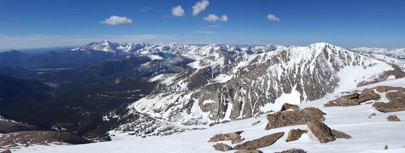 Rocky Mountain National Park looks beautiful from the summit of Fairchild Mountain. Longs Peak is on the far left. Ypsilon Mountain (and its beautiful Blitzen Ridge) can be seen on the right.