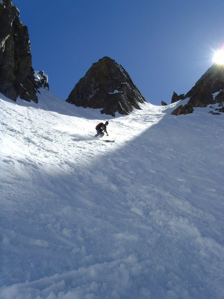 Breakfast Couloir can ski well into late May.
