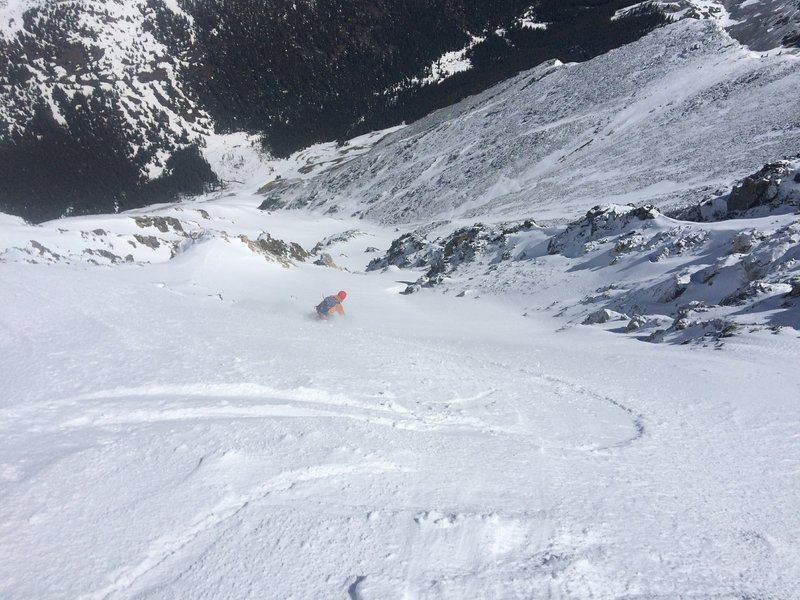 The first section of Emperor Couloir right start.