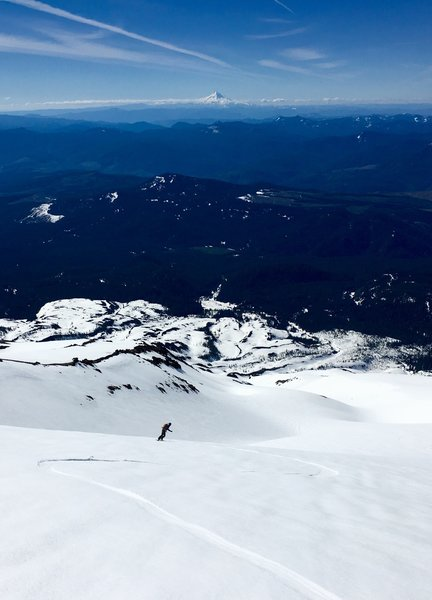 Shredding corny worms with a view of Mt. Hood from the St. Helens South Face (The Worms).