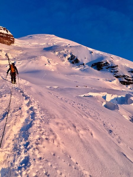 Approaching the Ingraham Icefall at sunrise.
