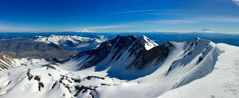 Rainier (left) and Adams (Right) with the St. Helens caldera below.