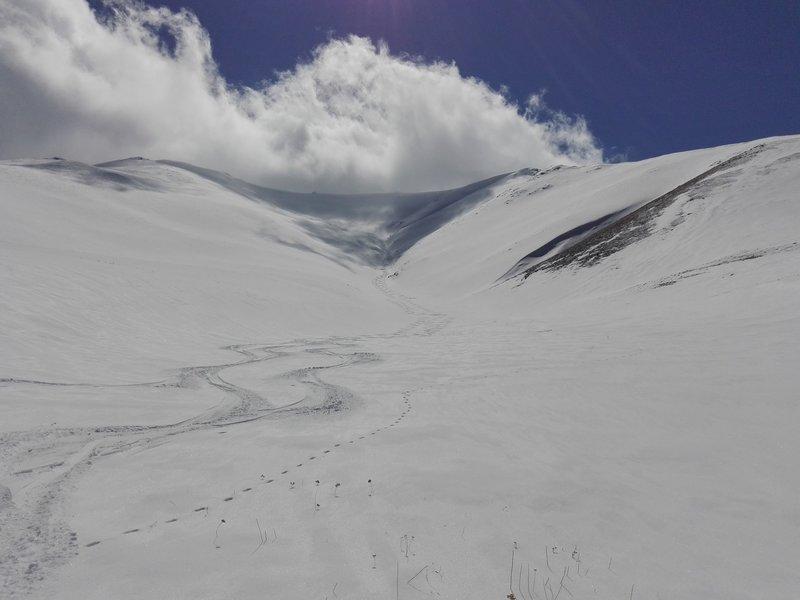 Enjoying our tracks on Mount Tukhmanuk.