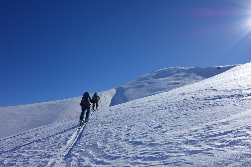 Skiers on the way