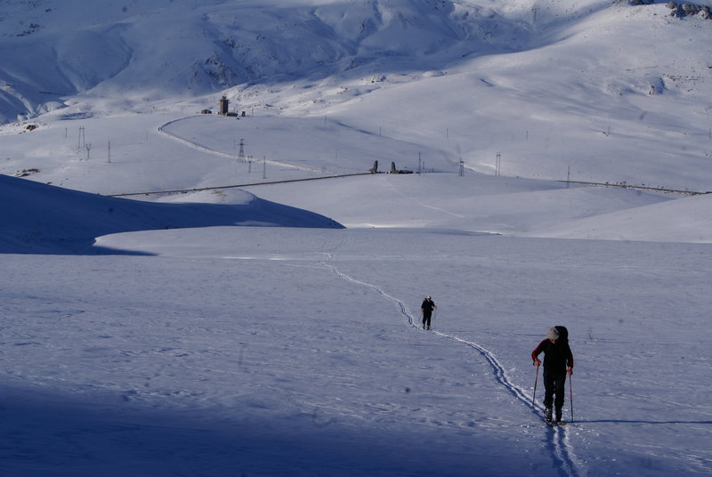 Heading up Mount Aragats.