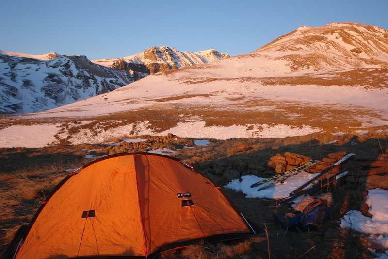 Setting up camp on Mount Aragats.