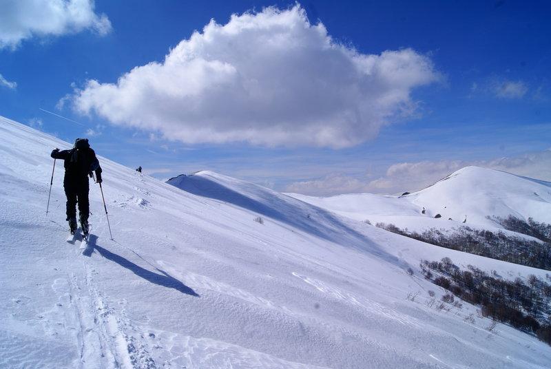 Climbing the side of Mount Ara.