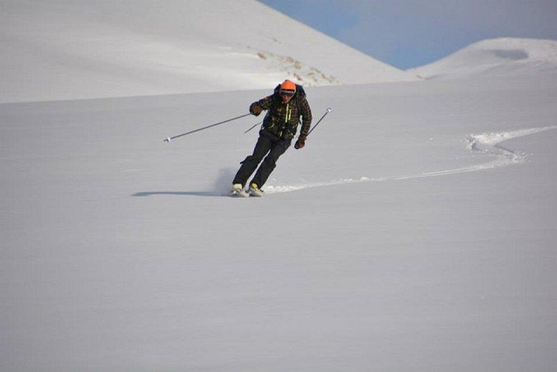 Enjoying some soft snow on Mount Hatis.