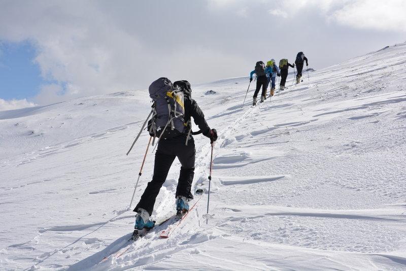 The group continues their tough climb.