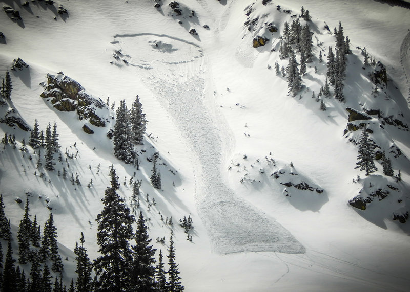 R2D2 avalanche in K4.  Slides in the K Chutes can be much larger and often hit the uphill route
