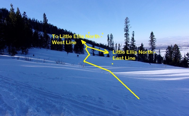 From top of Northside ascent, ski or skin westward; turn downhill to ski East Line, or continue west traverse to reach West Line