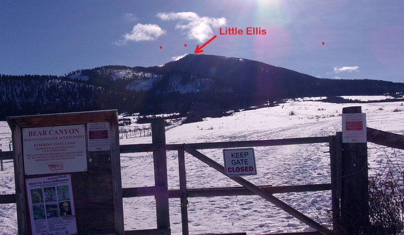 Start of Ascent - gate at end of Mount Ellis Lane (not really at Bear Canyon, despite the sign!)