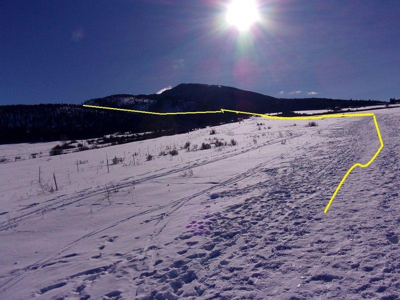 Ascent follows open meadow to highest point, then begins eastward (skinner's left) traverse on NE side of Little Ellis