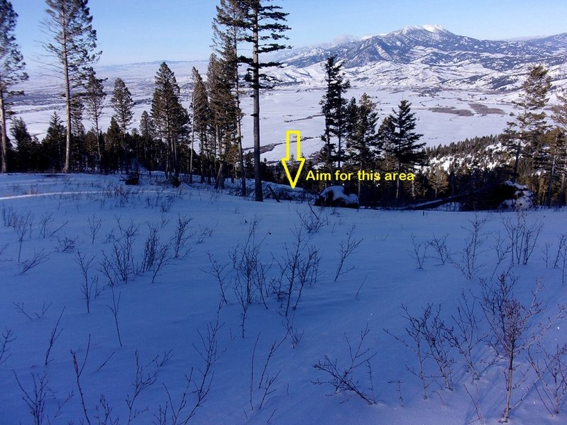 View from broad ridge at top of line.  Can pick any line between hilltop left of arrow, to gully to right of arrow.