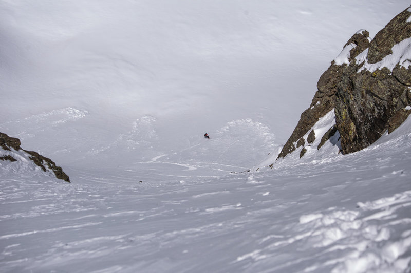 Looking down the 4th of July Couloir