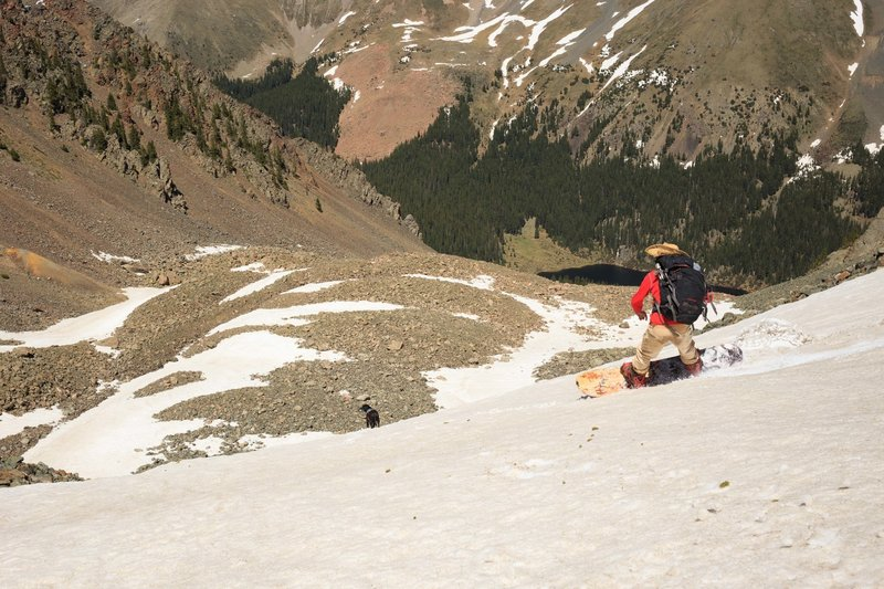 Descending Lake Fork's north face during June 2016