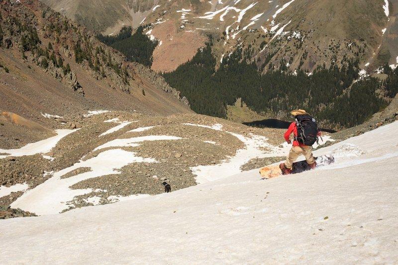 Descending Lake Fork's north face during June 2016