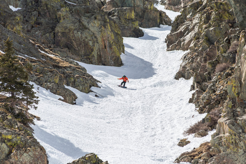 Ice Spider Couloir ~ when it's safe an ice axe is usually nice to have